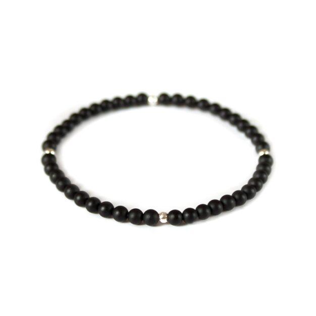 Noir for men Semi-Precious Gemstone Stretch Bracelet