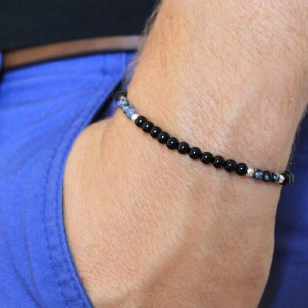 Noir for men - Snowflake Obsidian & Onyx Beaded Bracelet
