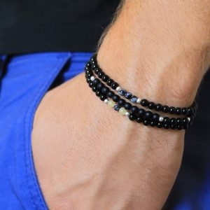 Noir for men Semi-Precious Gemstone Stretch Bracelet