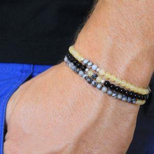 Power of Stones for men Ambronite & Jasper Beaded Bracelet
