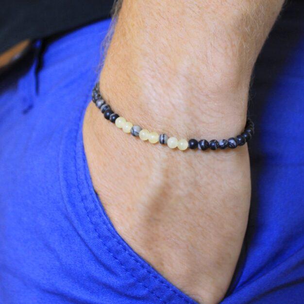 Power of Stones for men - Jasper & Ambronite Beaded Bracelet