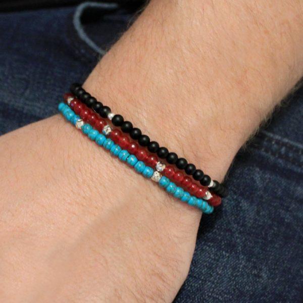 L.A. for men Red Jade Semi-Precious Gemstone Stretch Bracelet
