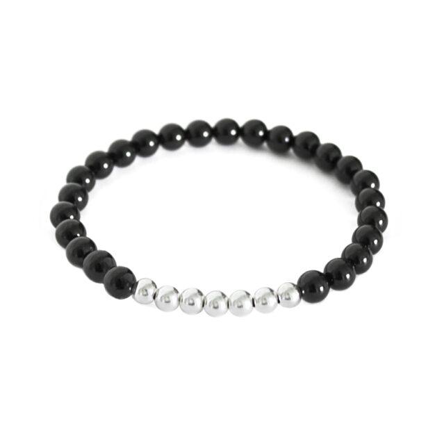 Noir for men - Back Onyx and Sterling Silver Stretch Bracelet