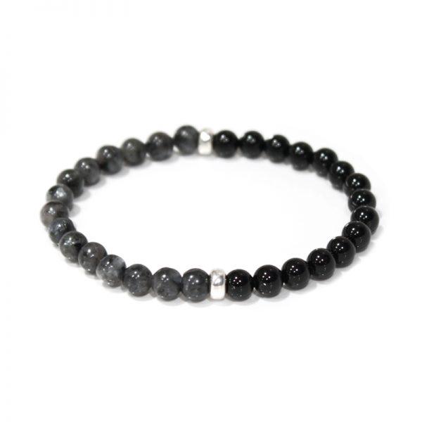 Black Moon for men Back Onyx, Norwegian Black Moonstone and Sterling Silver Stretch Bracelet