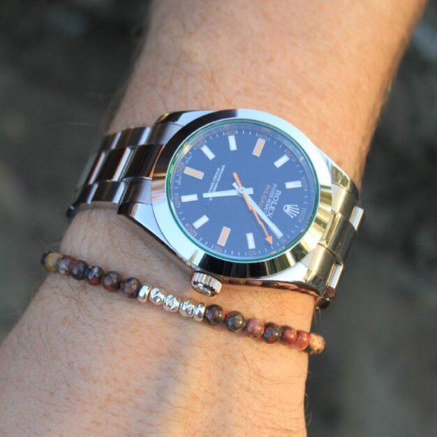 Adventure for men - Leopardskin Jasper & Sterling Silver Beaded Bracelet
