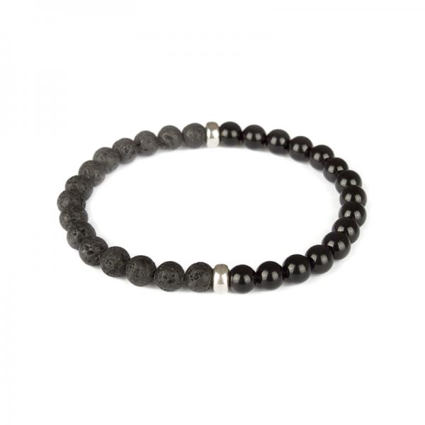 Black Lava for men - Back Onyx, Lava Stone & Sterling Silver Beaded Bracelet