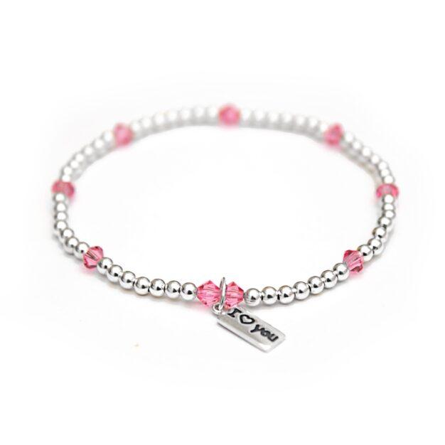 'I Love You' - Light Pink Swarovski crystals & 925 Sterling Silver beaded bracelet