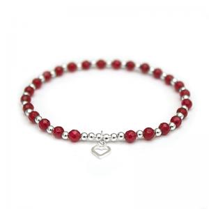 Red Jade & 925 Sterling Silver beaded bracelet