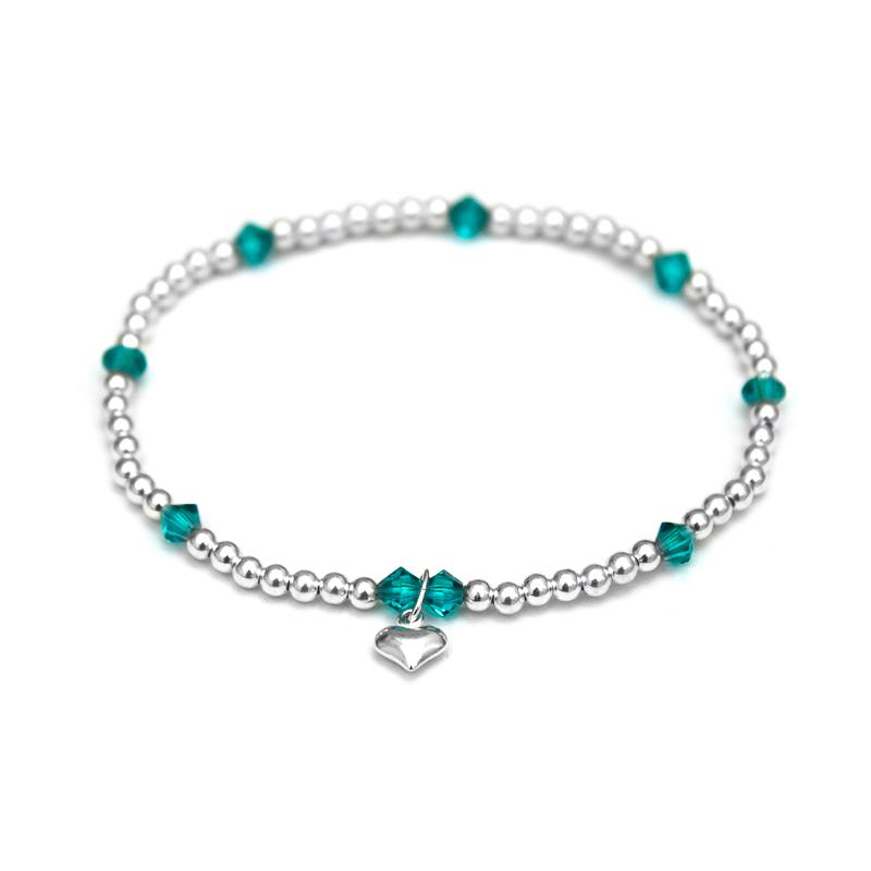 Blue Zircon Swarovski crystals & 925 Sterling Silver beaded bracelet
