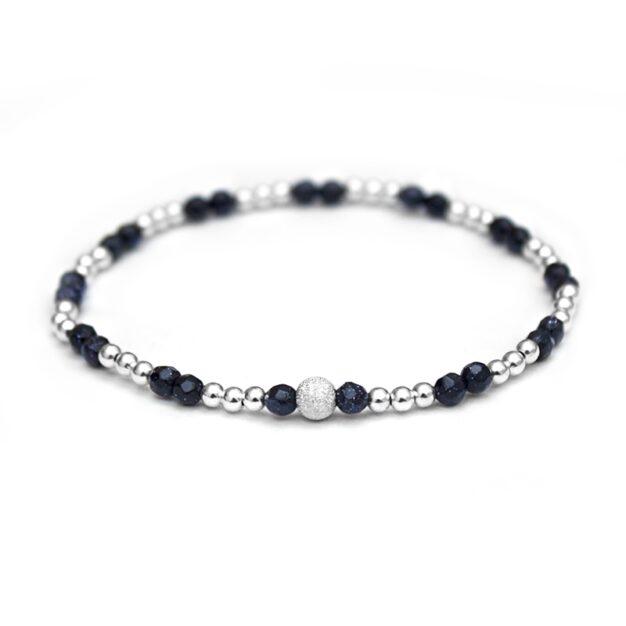 Blue Gold Stone & 925 Sterling Silver beaded bracelet