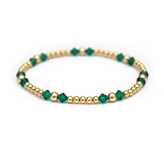 Emerald Swarovski crystals & 14 ct gold beaded bracelet