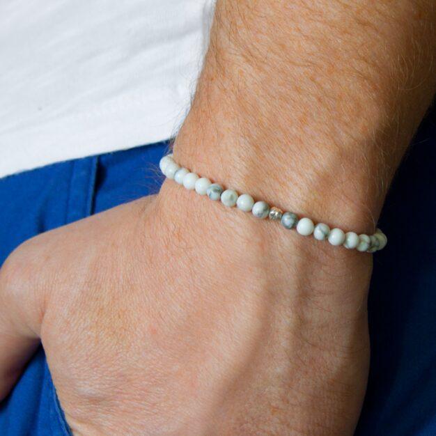 Power of Stones for men White Semi-Precious Gemstone Stretch Bracelet