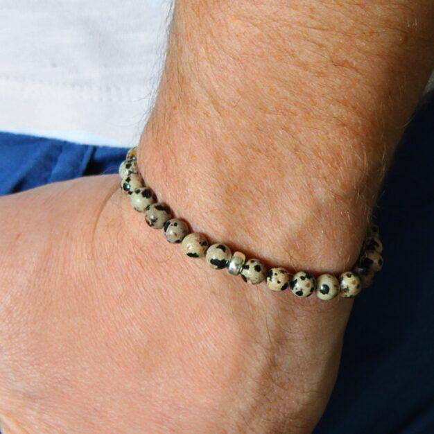 Adventure for men Dalmatian Jasper and Sterling Silver Stretch Bracelet