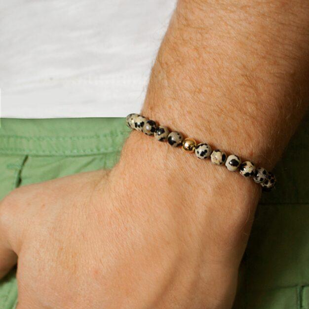 Adventure for men Dalmatian Jasper and 14 ct Gold Stretch Bracelet