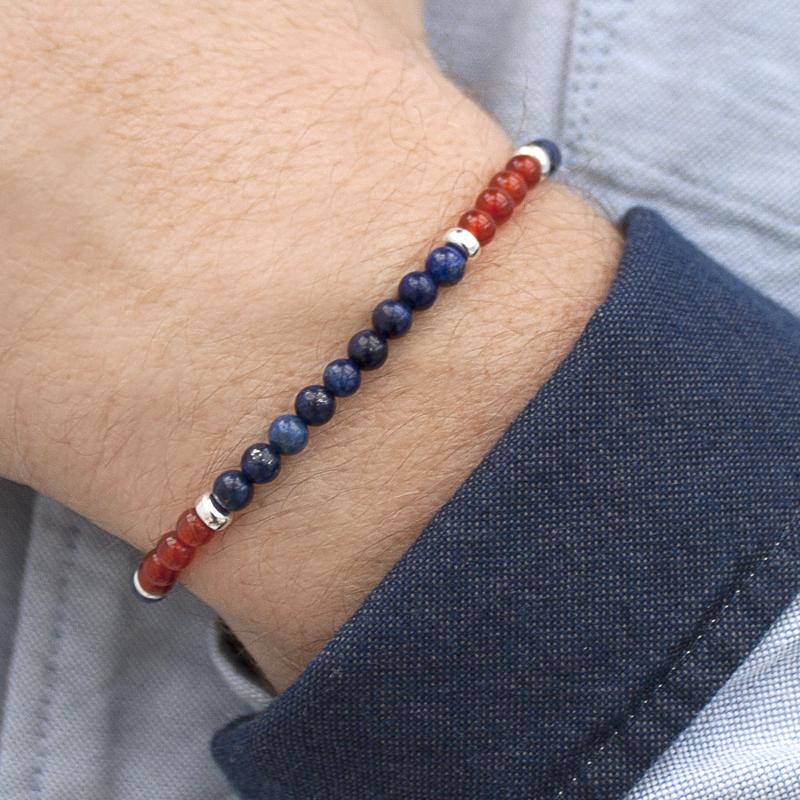 Adventure for men Lapis Lazuli, Carnelian and 925 Sterling Silver Stretch Bracelet