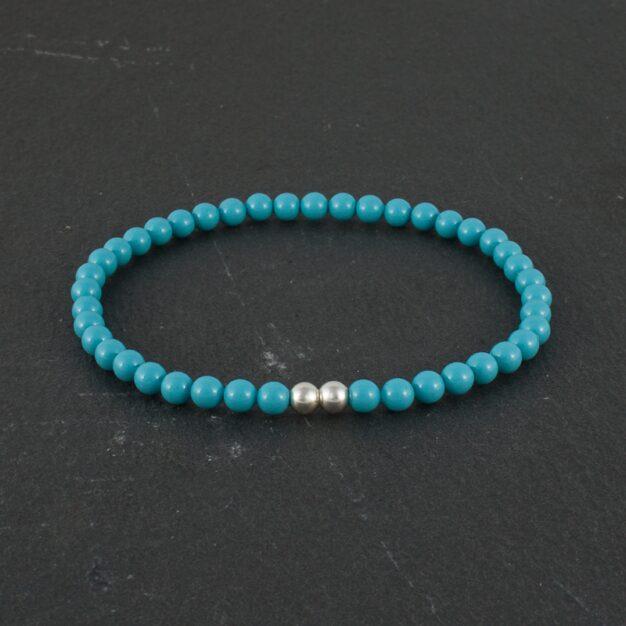Ocean for men Light Blue Beads and 925 Sterling Silver Stretch Bracelet