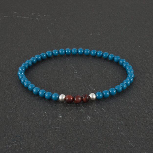 Ocean for men Red Tiger Eye Blue Beads and 925 Sterling Silver Stretch Bracelet