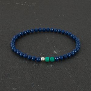 Ocean for men Turquoise & Dark Blue Beads and 925 Sterling Silver Stretch Bracelet