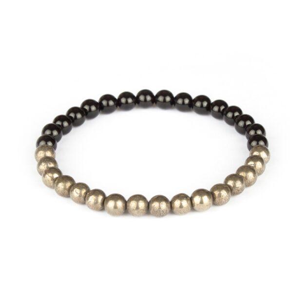 Fool's Gold - Black Onyx and Pyrite Stretch Bracelet