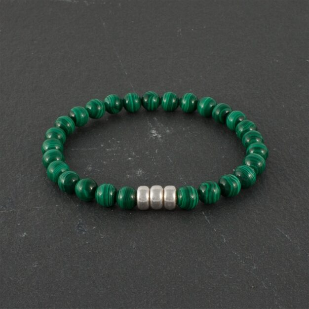 Limited Edition - Adventure for men Malachite and Sterling Silver Bracelet