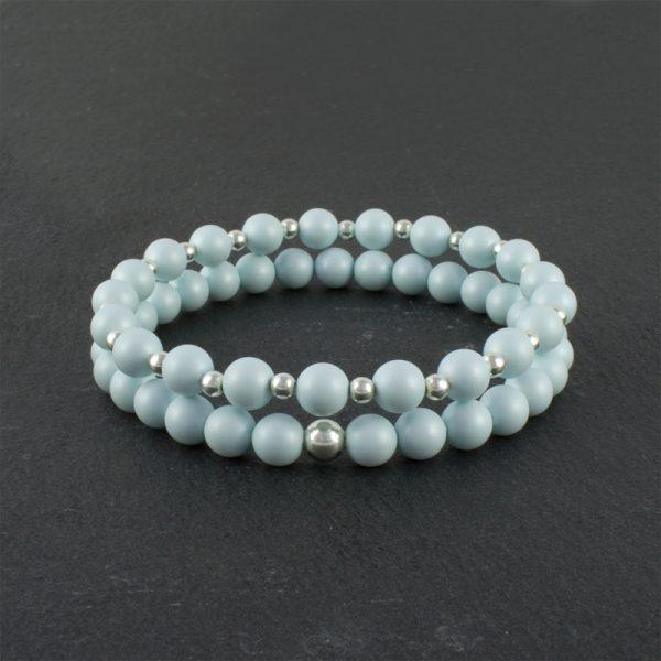 Bella Pale Blue and Sterling Silver beaded bracelet set