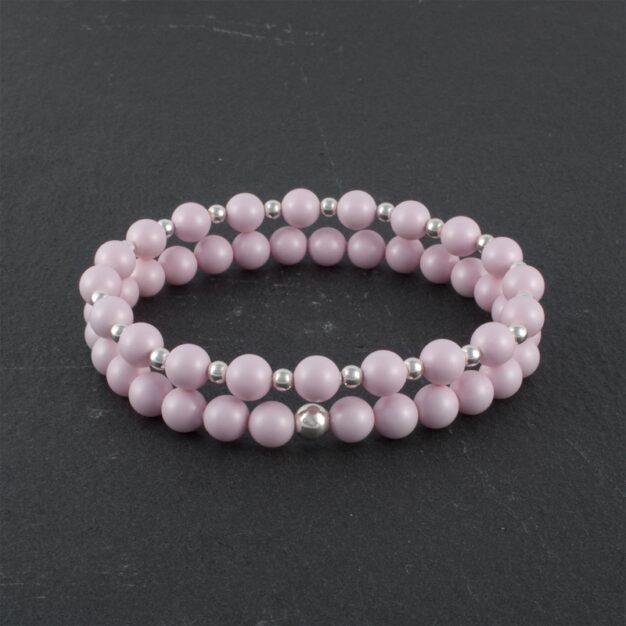 Bella Pale Pink and Sterling Silver beaded bracelet set