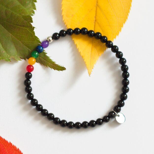 Rainbow - Black Onyx and 925 Sterling Silver Stretch Bracelet