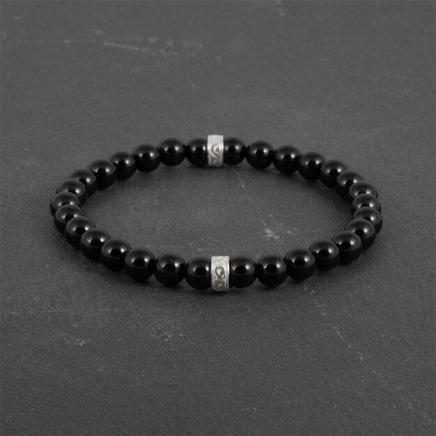 Noir for men Back Onyx and Sterling Silver Beaded Bracelet