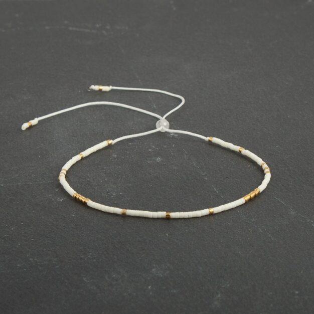 Delicate Ivory white & 24kt Gold Plated Adjustable bracelet