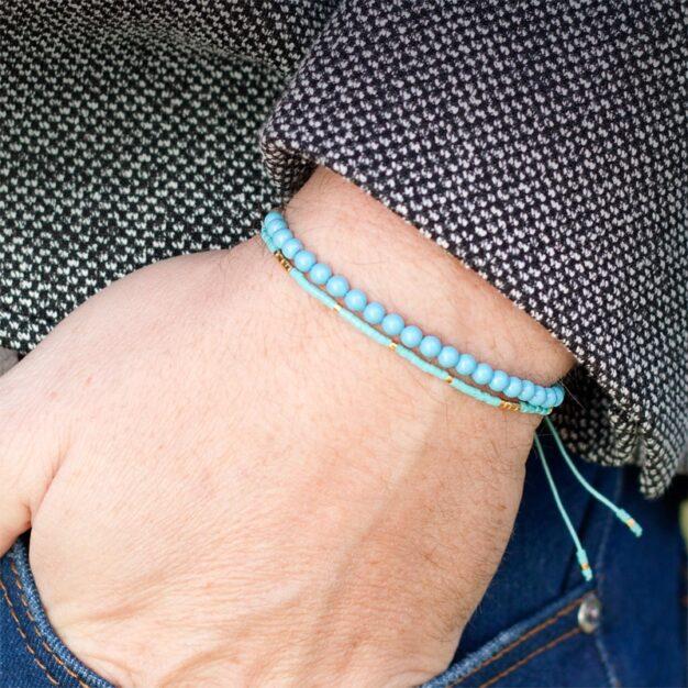 Delicate Turquoise blue & 24kt Gold Plated Adjustable bracelet