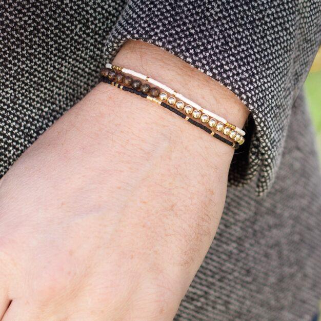 Delicate Matt Black & 24kt Gold Plated Adjustable bracelet