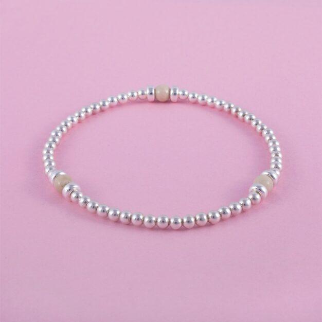 925 Sterling Silver & Fossil stones beaded bracelet