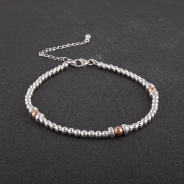925 Sterling Silver & Rose gold beaded bracelet