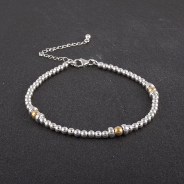 925 Sterling Silver & Gold beaded bracelet