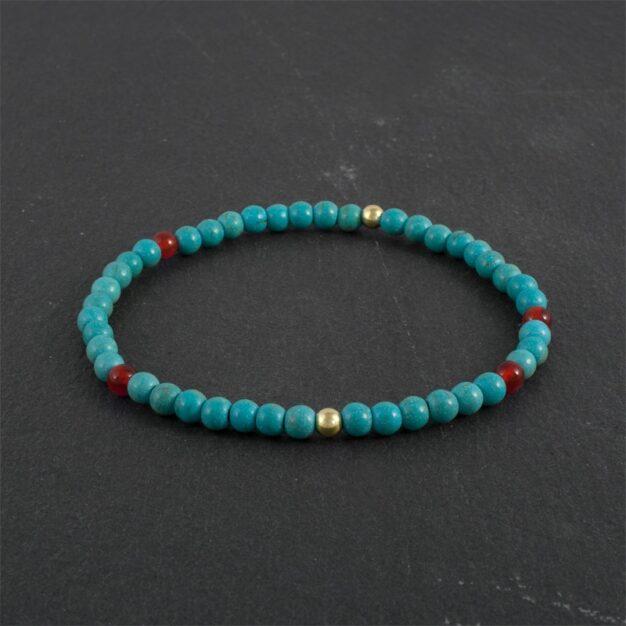 Turquoise, Carnelian & Gold Beaded Bracelet