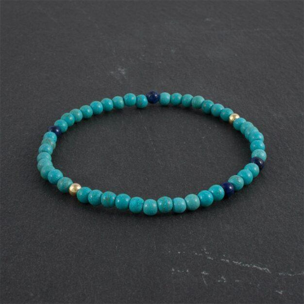 Ocean for Men - Turquoise, Lapis Lazuli & Gold Beaded Bracelet