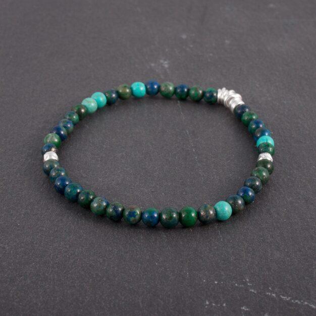 Ocean for Men - Chrysocolla, Turquoise & Sterling Silver Bracelet
