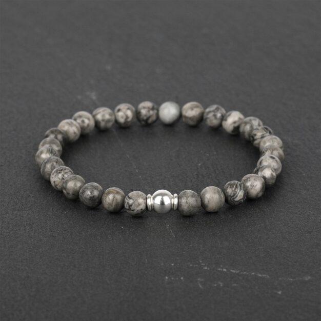 Adventure for Men - Grey Jasper & Sterling Silver Bracelet