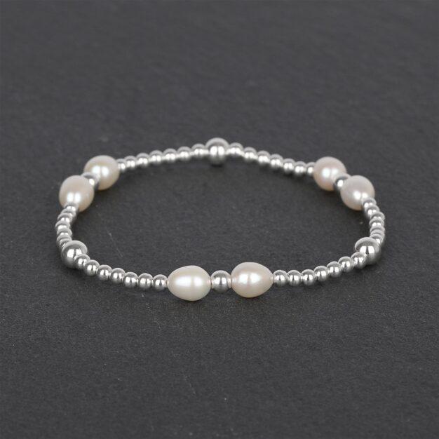 Freshwater Pearls & 925 Sterling Silver beaded bracelet