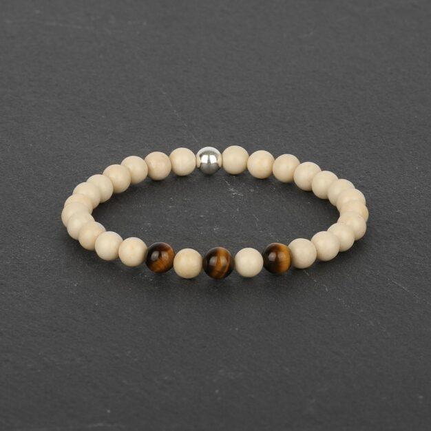 Adventure for Men - Tiger Eye, Riverstone & Sterling Silver Bracelet