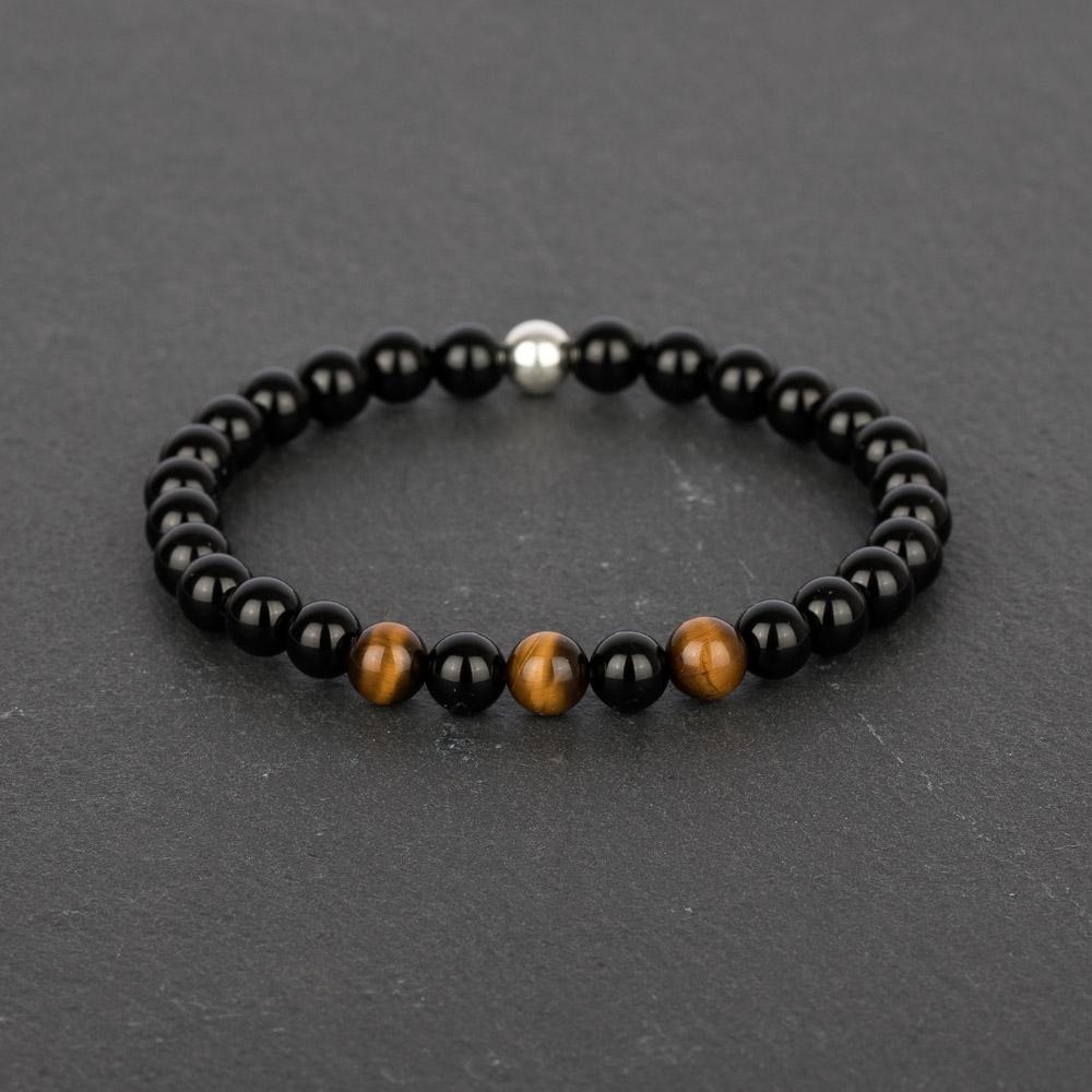 Adventure For Men Tiger Eye Black Onyx Sterling Silver Bracelet