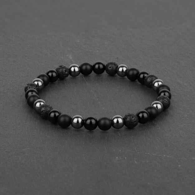 Noir for men Back Onyx, Black Lava and Hematite Beaded Bracelet