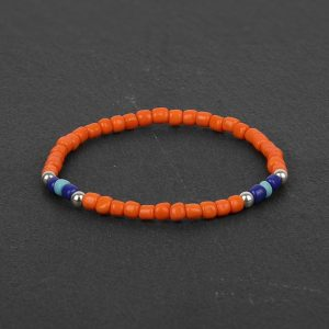 South Orange & Blue Beaded Bracelet for Men