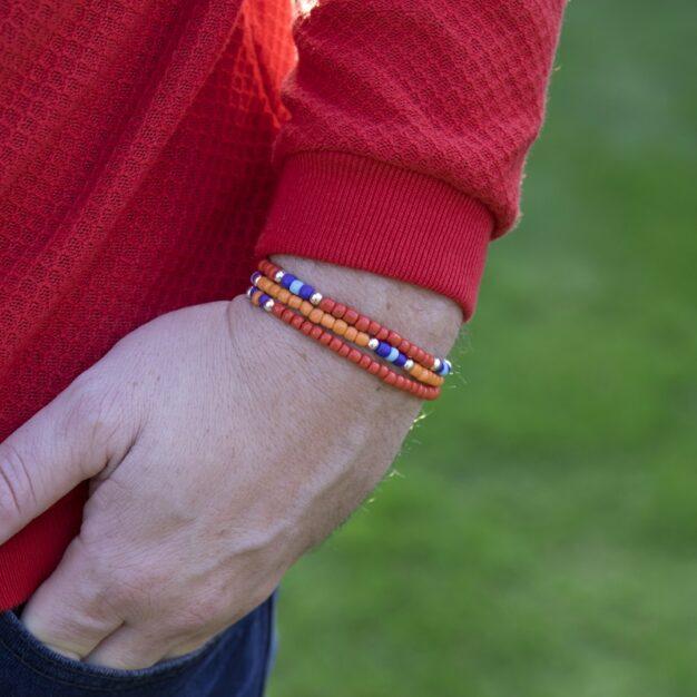 South Orange & Blue Beaded Bracelet for Men