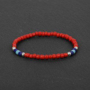 South for Men - Red & Blue Beaded Bracelet