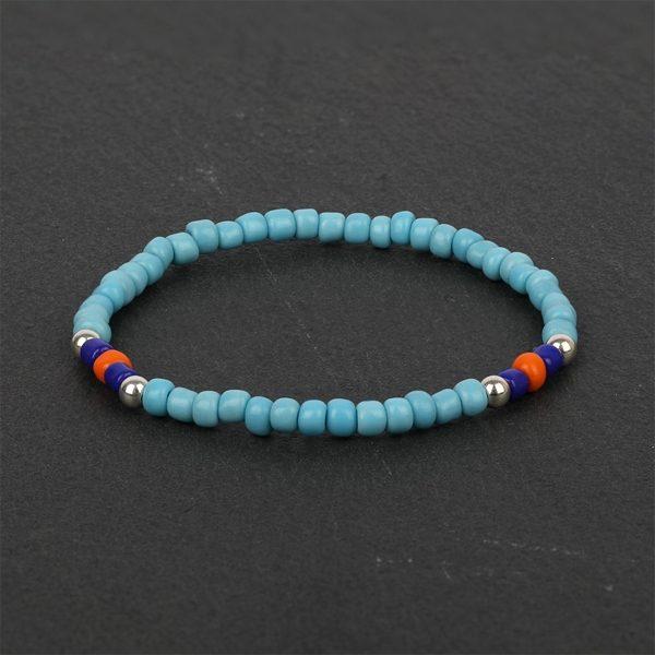 South for Men - Blue & Orange Beaded Bracelet