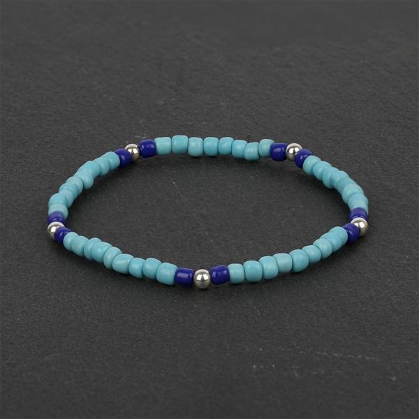 South for Men - Blue Beads & Sterling Silver Bracelet