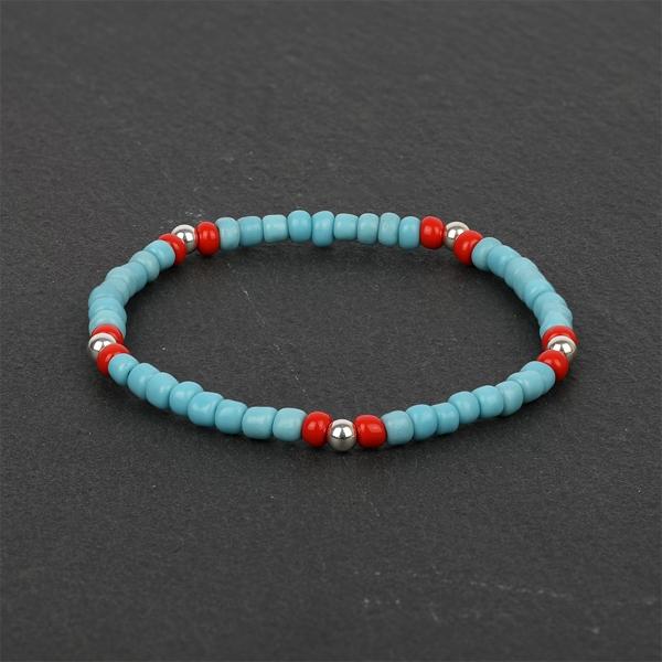 South for Men - Blue & Red Beads & Sterling Silver Bracelet
