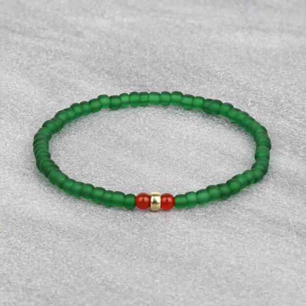 South for Men - Carnelian, Gold & Green Glass Beaded Bracelet