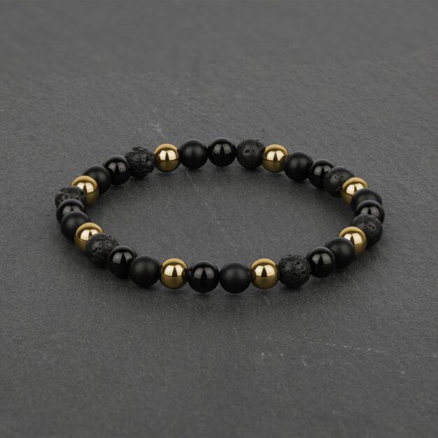 Noir for men Back Onyx, Black Lava and Gold Hematite Beaded Bracelet